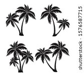 Set Of Silhouettes Of Palm...
