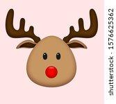 Cute Brown Reindeer With Red...