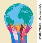 hands with earth  people of the ... | Shutterstock .eps vector #1576630822