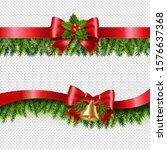 christmas red ribbon and fir...   Shutterstock . vector #1576637368