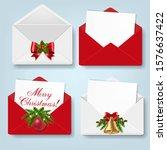 merry christmas envelope set...   Shutterstock . vector #1576637422