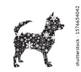 vector silhouette of snowy dog... | Shutterstock .eps vector #1576654042