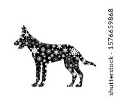 vector silhouette of snowy dog... | Shutterstock .eps vector #1576659868