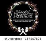 happy halloween wreath with... | Shutterstock .eps vector #157667876