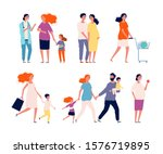 pregnant characters. woman... | Shutterstock .eps vector #1576719895