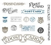vector vintage postcard and... | Shutterstock .eps vector #157677362