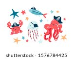 Pirate fish illustrations set. Undersea world habitants wearing pirate eyepatches and black bandanas isolated on white background. Octopus crab and jellyfish colorful cartoon characters collection.