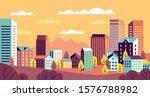 autumn city landscape. simple... | Shutterstock .eps vector #1576788982