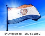 san jose  usa  flag waving on... | Shutterstock . vector #157681052