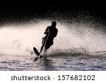 Waterskier Silhouette With...