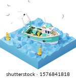 Vector Isometric Fishing Boat...