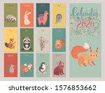 calendar 2020 with animals ....   Shutterstock .eps vector #1576853662