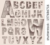 grunge scratched alphabet set ... | Shutterstock .eps vector #157686716