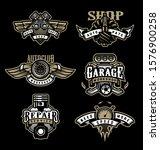 set of vintage monochrome auto... | Shutterstock .eps vector #1576900258