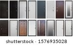 Small photo of Isolated Door in different colors and metallic door handles. White,grey, black, brown, with mirror. opens left, right. Set of entrance metal doors.