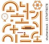 copper pipe fittings set vector ...   Shutterstock .eps vector #1576978078