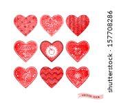 set of nine vector hearts with... | Shutterstock .eps vector #157708286