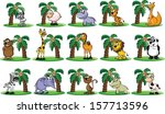 big set of animals with palm  ... | Shutterstock .eps vector #157713596