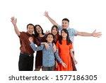 portrait of asian family... | Shutterstock . vector #1577186305