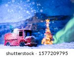 red retro toy car transporting  ... | Shutterstock . vector #1577209795