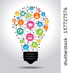 The concept of effective education. Light bulb with colorful education icon. File is saved in AI10 EPS version. This illustration contains a transparency