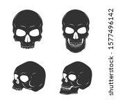set of skulls isolated on white....   Shutterstock .eps vector #1577496142