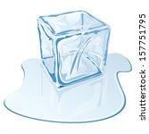 blue half melted ice cube | Shutterstock .eps vector #157751795