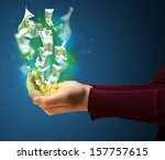 woman holding glowing paper... | Shutterstock . vector #157757615