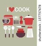 i love cook card design. vector ...