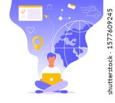 landing page with man sitting... | Shutterstock .eps vector #1577609245
