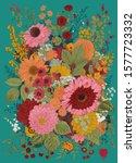 autumn bouquet. flowers  berry  ... | Shutterstock .eps vector #1577723332