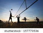 beach volleyball is sport that...   Shutterstock . vector #157773536