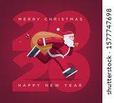 santa claus running year 2020.... | Shutterstock .eps vector #1577747698