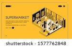 supermarket isometric landing...   Shutterstock .eps vector #1577762848