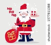 funny cartoon santa claus with... | Shutterstock .eps vector #1577811388
