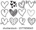 collection set of hand drawn... | Shutterstock .eps vector #1577858065