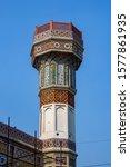 Unique looking minaret of the 17th century Mughal monument Chauburji in Lahore, Pakistan