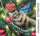 Cat On Christmas Tree. Naughty...