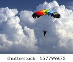 colorful parachute landing as... | Shutterstock . vector #157799672