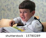smiling pupil with  alphabet at ... | Shutterstock . vector #15780289