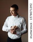 handsome groom in the home ... | Shutterstock . vector #1578071392