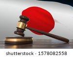 justice in japan. wooden gavel... | Shutterstock . vector #1578082558
