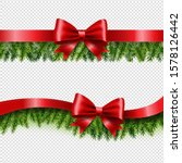 two red ribbon and fir tree...   Shutterstock . vector #1578126442