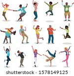 party with happy cartoon people ... | Shutterstock .eps vector #1578149125