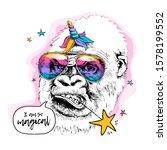 gorilla in a rainbow glasses ... | Shutterstock .eps vector #1578199552