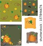 seamless pumpkin wallpapers | Shutterstock .eps vector #157846676