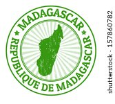 Grunge rubber stamp with the name and map of Madagascar, vector illustration - stock vector
