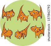 set of cute cats  | Shutterstock .eps vector #157862792