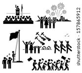 people celebrating national day ... | Shutterstock .eps vector #157865912