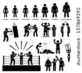 boxing boxer stick figure... | Shutterstock . vector #157869392